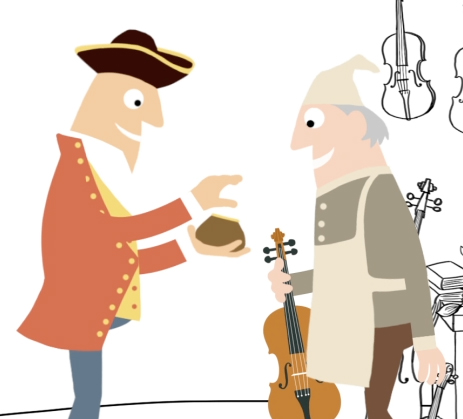 Gentleman buying Stradivarius animation