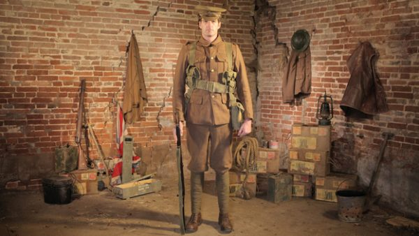Dan snow dressed as a british soldier during the war