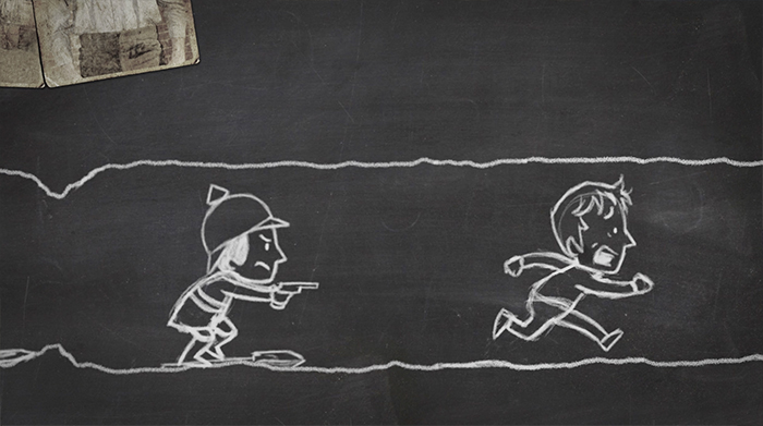 World War One Trenches Blackboard Animation German soldier chases British soldier in trench