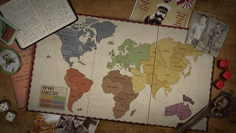 A board game showing the territories and countries before the war