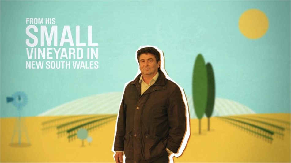 A frame from a motion graphics animation by Slurpy Studios (an animation studio in London). The image shows a man in front of a vineyard.