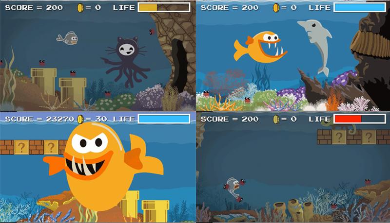 Frames of Payara animated film designed to look like retro game