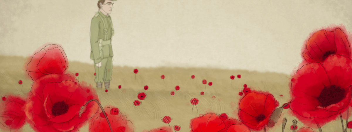Watercolour technique animation style for world war one poppy day remembrance day