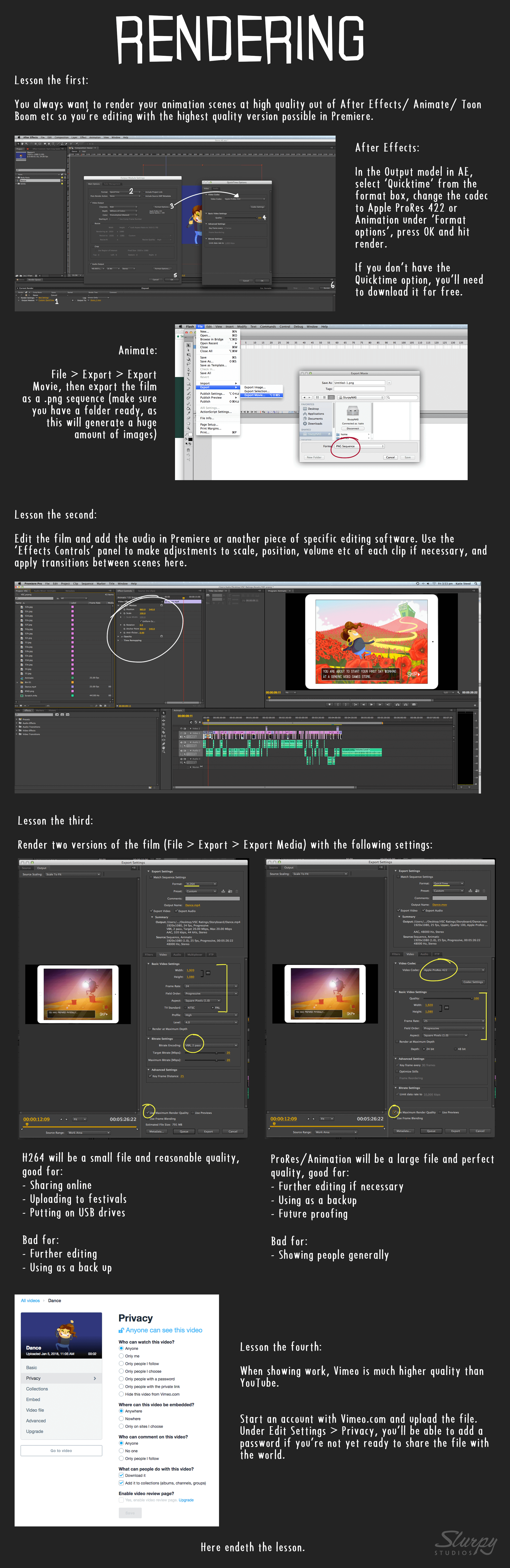 A guide to rendering your animation project: codecs, compression and settings