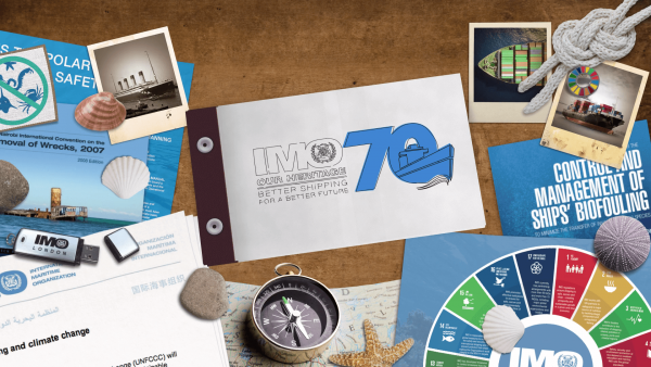 International Maritime Organisation 70 Anniversary collage hand drawn animation